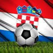 Soccer ball with Croatia flag on background — Stock Photo