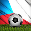 Soccer ball with Czech Republic flag on background — Stock Photo