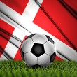 Soccer ball with Denmark flag on background — Stock Photo