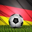 Soccer ball with Germany flag on background — Stock Photo