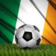 Soccer ball with Ireland flag on background — Stok fotoğraf