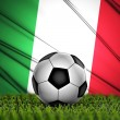 Soccer ball with Italy flag on background — Stock Photo