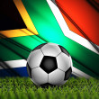 Soccer ball with South Africa flag on the background — Stock Photo