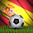 Soccer ball with Spain flag on background — Stock Photo