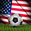 Soccer ball with United States flag on the background — Stock Photo
