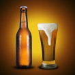 Fresh cold bottle and glass of beer — Stock Photo