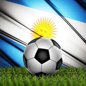 Soccer ball with Argentina national flag on background — Stock Photo