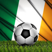 Soccer ball with Ireland flag on background — Stock Photo