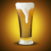 Fresh beer in glass with foam — Stock Photo