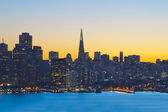 San Francisco financial district at sunset — Stock Photo