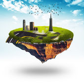Floating planet with building and road and birds — Stockfoto