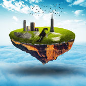 Floating land with building and bird — Stock Photo