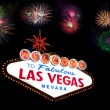 Welcome to Las Vegas Sign with firework — Stock Photo