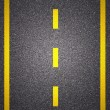 Asphalt road texture with yellow stripe — Foto Stock