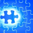 Missing blue jigsaw puzzle piece — Stock Photo