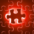Missing red jigsaw puzzle piece — Stock Photo