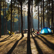 Illuminated blue Camping tent from sunlight — Stock Photo
