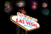 Welcome to Las Vegas Sign with firework — Stockfoto