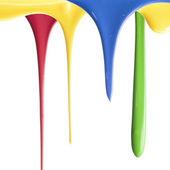 Pouring multiple color paints — Stock Photo