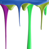 Pouring multiple color paints — Stock Photo