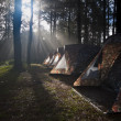 Ray of sunlight shining on the camping tent — Zdjęcie stockowe