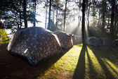Camping tent with fog — Stock Photo