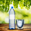 Bottle and Glass of Water on wood table — Stock Photo