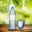Bottle and Glass of Water on wood table — Stock Photo #38347463