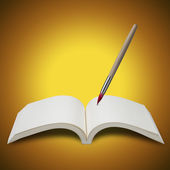 Paint brush with book — Stok fotoğraf