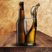 Beer Bottle with Beer Glass — Stock Photo