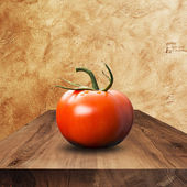 Tomato On Wood Table — Stock Photo