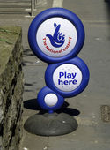 National Lottery street advertisment stand — Stock Photo