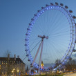 London Eye at dusk from Jubilee Gardens — Stock Photo