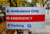 Emergency sign outside a hospital — Stock Photo