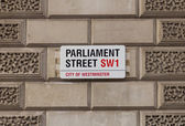 Sign for Parliament Street in Central London — Stok fotoğraf