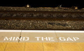Mind the Gap Sign — Stock Photo