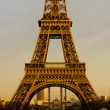 Eiffel Tower closeup at Sunset — Stock Photo