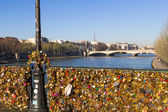 Pont des Arts and Eiffel Tower — Stock fotografie