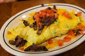 Steak and Tomatoe Omelette — Stock Photo