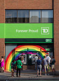 Rainbow around TD Bank ATMS — Стоковое фото