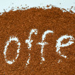 "The word ""coffee"" from instant coffee granules — Stock Photo"