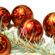 Composition Christmas red balls with gold pattern and tinsel — Stock Photo #36777457