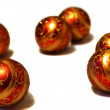 Christmas red and gold shiny balls — Stock Photo