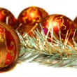Composition Christmas red balls with gold pattern and tinsel — Stock Photo #36777455