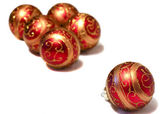 Composition of red Christmas balls with golden pattern — Stock Photo