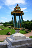 Large glass lantern on the balustrade of the palace on a backgro — Foto Stock