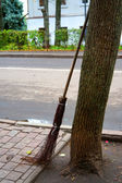 Broom made of twigs leaning against a tree trunk — Stock Photo