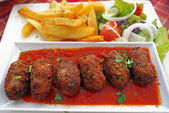 Cypriot food-keftedes (meatballs in sauce) — Stock Photo