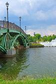 Summer landscape: a bridge across the lake — Foto de Stock