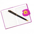 Open notebook in a purple cover with a black ballpoint pen on a — Stock Photo #51168823